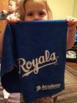 Cheering on the Royals from home with some of the playoff swag giveaways.