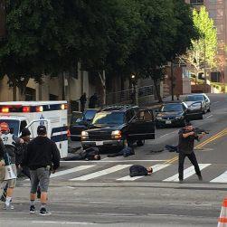 Film location on DTLA street--not actual shootout.