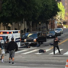 Film location on DTLA street--not actual shootout.