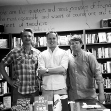 Group photo from our last night of leg 1, at Beaverdale Books in Des Moines.