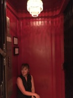 Nicole in the lift at The Dean Hotel in Providence.