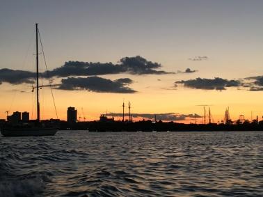 Boston Harbor at sunset.