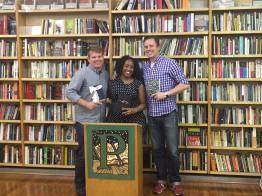 Me, Amina, and Dave at Pegasus Books Downtown in Berkeley.