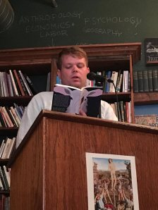 On stage at the incredible Mother Foucault's antiquarian bookshop in Portland.