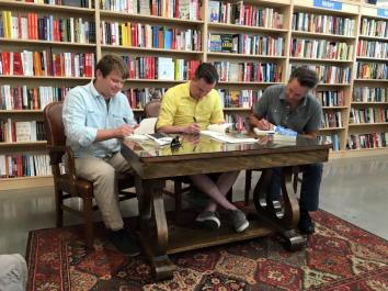 Signing books at the Bookworm in Omaha.
