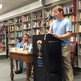 A life ambition fulfilled, reading at Prairie Lights in Iowa City.