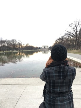Nicole at the Lincoln Memorial.