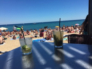 Beach drinks, Barcelona.