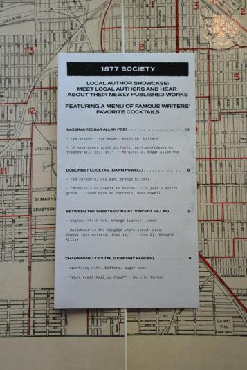 Special menu for 1887 Society event at Mercury Lounge. (Photo by Omaha Public Library)