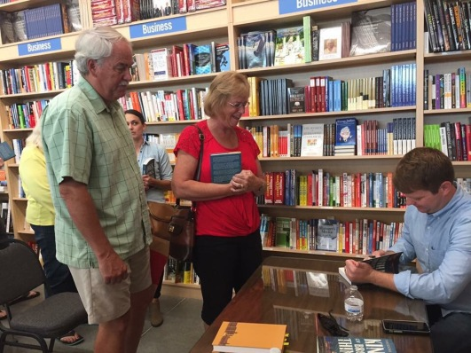 Signing books at the Bookworm.