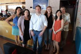 Gallery of authors at the 1877 Society event, including Tosca Lee, Cat Dixon, myself, Liz Kay, Lydia Kang, and Leo Biga. (Photo by Omaha Public Library)